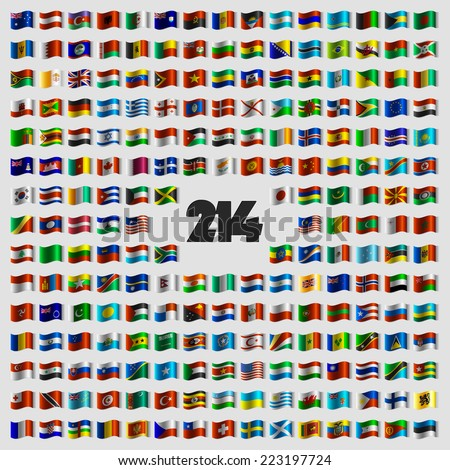 Set of two hundred and fourteen vector national flags that celebrate Independence Day. Flags in waveform.