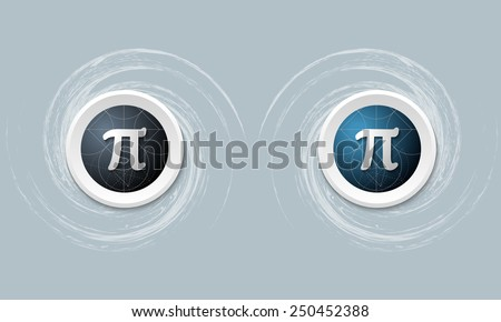 set of two icon and pi symbol - stock vector