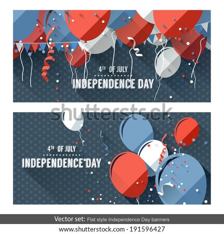 Set of two Independence Day horizontal banners in flat style