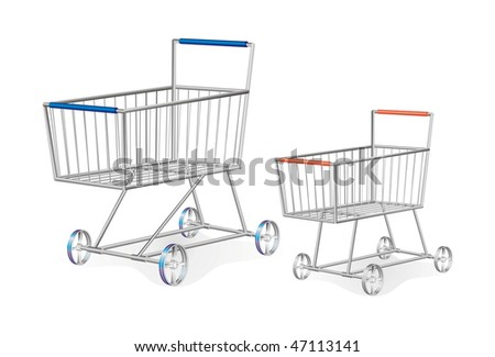 set of two metallic shopping carts	, isolated on white vector editable illustration