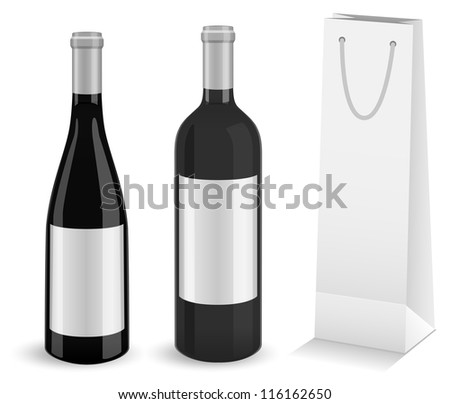 Set of two mock-up wine bottles and bottle gift bag. All objects and details are isolated and grouped. Transparent background color is easy to customize - stock vector