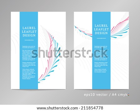 Set of two one-column double sided vector leaflet / brochure / cover layout templates with two-colored classic award laurel ornament illustration. A4, eps10, cmyk. - stock vector