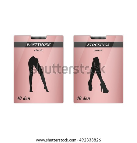 Set Two Pantyhoses Stockings Carton Package Stock Vector 492333826 - Shutterstock