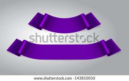 set of two purple ribbon banners - stock vector