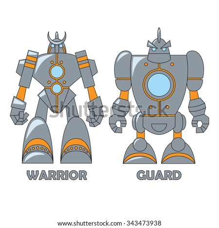 Set of two robots isolated on white background. Vector illustration. Warrior and Guard. Cartoon  illustration for your design. - stock vector