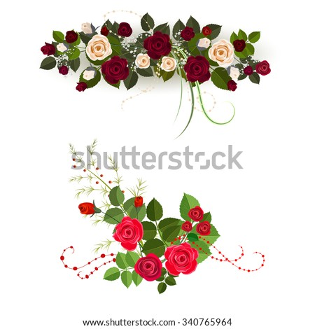Set of two rose design elements isolated on white background. It can be used for greeting card and invitation. - stock vector