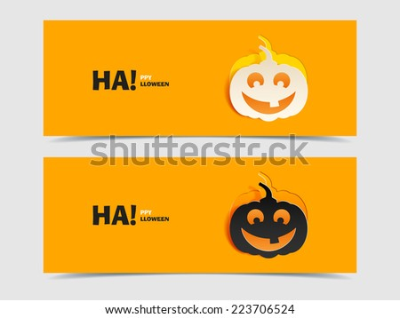 Set of two vector banners with pumpkin cut out of paper. Flat design. Black and wight smile pumpkin paper cut out from the background. Vector illustration for Halloween. Happy Halloween. Happy autumn. - stock vector