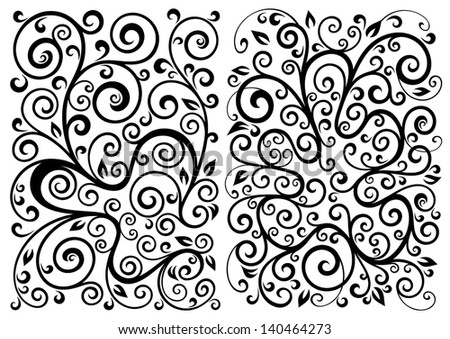 Set of two vector floral illustrations