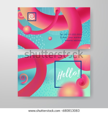 Set two vector horizontal business cards stock vector hd royalty set of two vector horizontal business cards fluid background liquid gradient shapes and geometry colourmoves