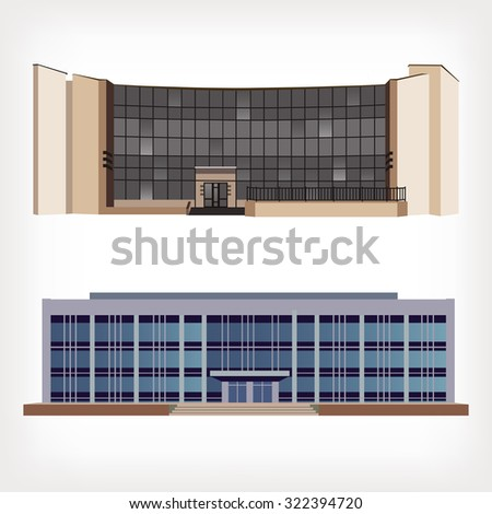 Set of two vector illustration of modern buildings for web design and infographics