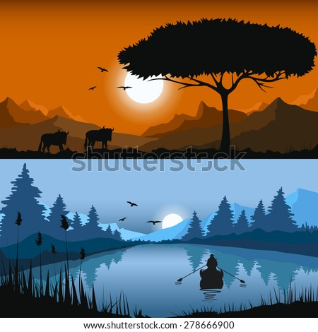 Set of two vector landscapes - stock vector