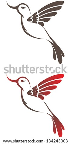 Set of two vector stylized hummingbird symbol