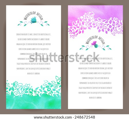 Set of two vertical banners. Hand-painted watercolor leaves and spirals motif and floral badge. Vector design for cards, invitation and other .  - stock vector