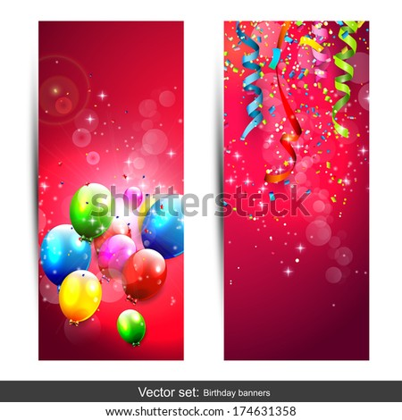 Set of two vertical birthday banners with colorful confetti and balloons - stock vector