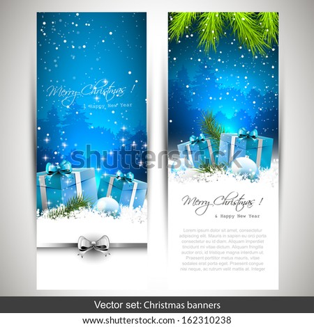 Set of two vertical Christmas banners with gift boxes in snow  - stock vector