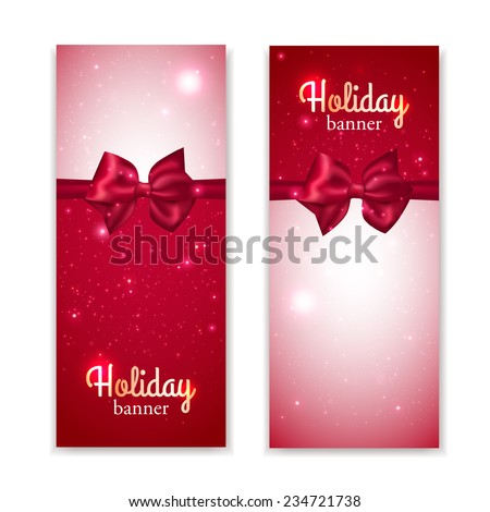 Set of two vertical holiday banners with photorealistic red bows. Vector illustration.