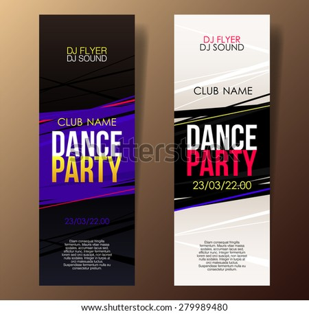 Set of two vertical music party flyers with color graphic elements and place for text.  Vector illustration. - stock vector