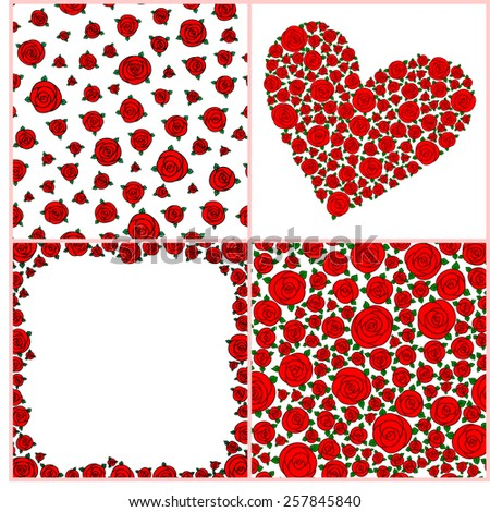 Set of two Vintage Seamless Pattern With Roses, heart of roses, frame of roses - stock vector
