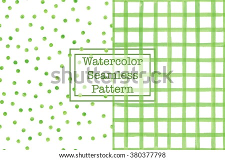 Set of two watercolor seamless patterns, green color. Square/check and polka dot. For any your design project or for print on any item.  - stock vector