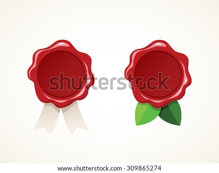 Set of two wax stamp on light background. Vector illustration. - stock vector