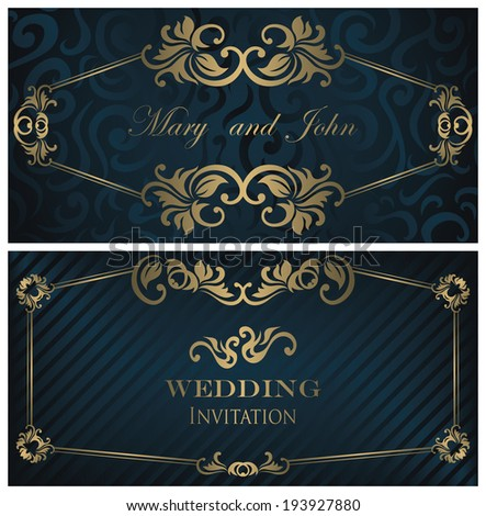 Set of two wedding invitations. Vintage design. Elegant cards      - stock vector