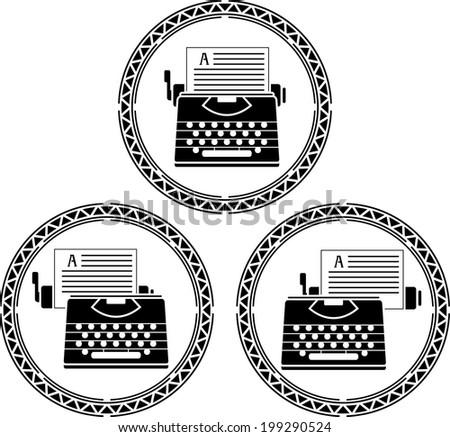 set of typewriters. stencils. vector illustration - stock vector