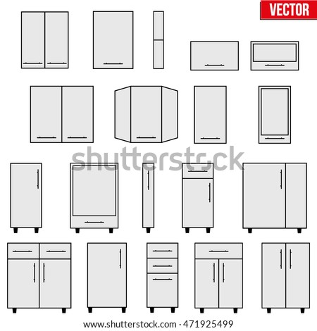 Blueprint Interior Design Set set typical objects modular kitchens flat stock vector 471925499