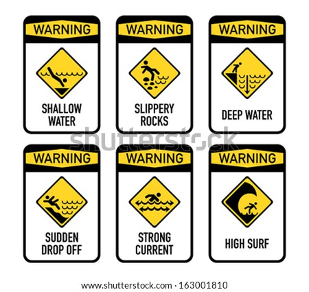 Set of typical open water swimming warnings - stock vector