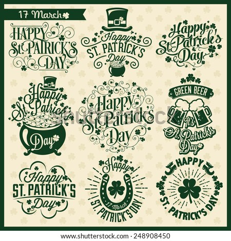 Set of Typographic Design Badges for Saint Patrick's Day - stock vector