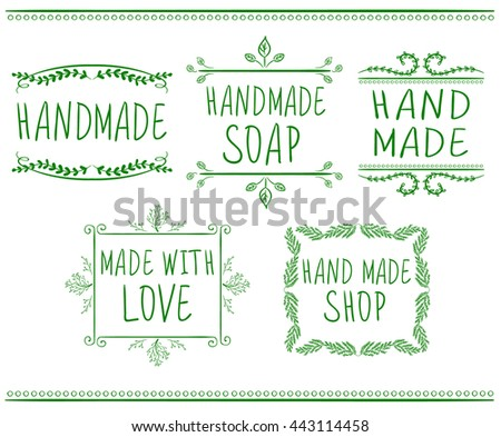 Set of typographic elements. Hand made. VECTOR handwritten letters. Green drawings.  - stock vector