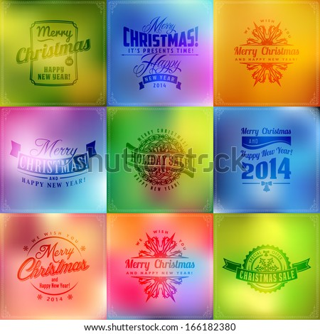 Set of typographic New year and Christmas holiday sale label elements, frames, vintage labels and borders on blur glass background - stock vector