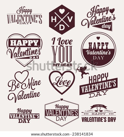 Set of Typographic Valentines Label Designs - stock vector
