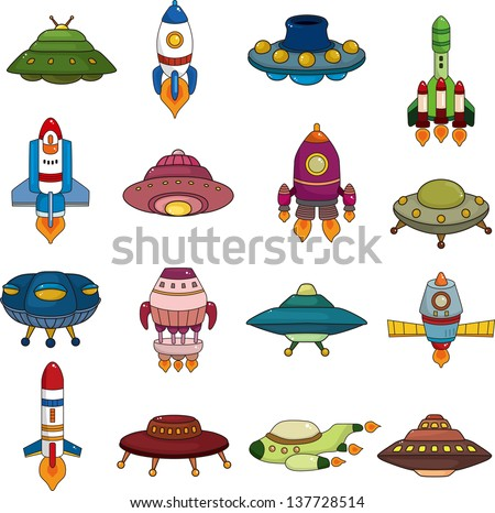 set of UFO rocket icons - stock vector