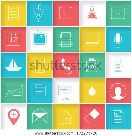 Set of 25 UI icons - stock vector