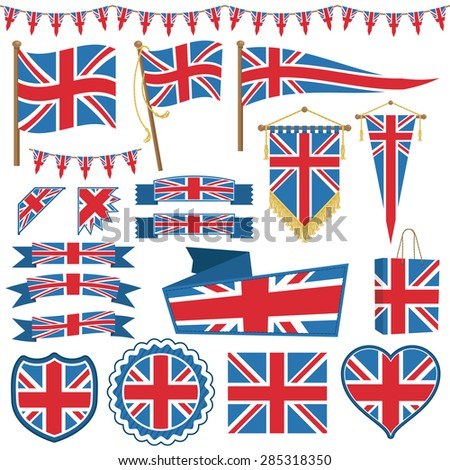 set of UK flag decorations with bunting, ribbons, banners and emblems - stock vector