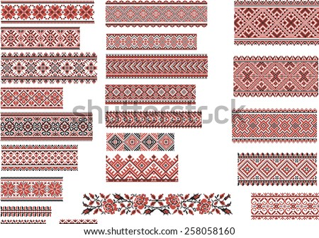 Set of Ukrainian ethnic patterns for embroidery stitch in red and black  - stock vector