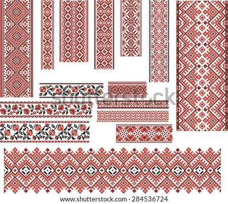 Set of Ukrainian ethnic patterns for embroidery stitch in red and black. Editable. - stock vector