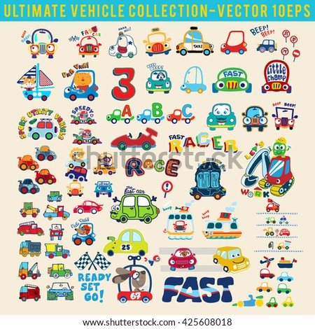 Set of ultimate vehicle collection.Graphic design elements for baby product. T-Shirt graphic design. Textile artwork design. Coloring books - stock vector