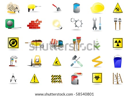 Set of under construction icons, vector illustration