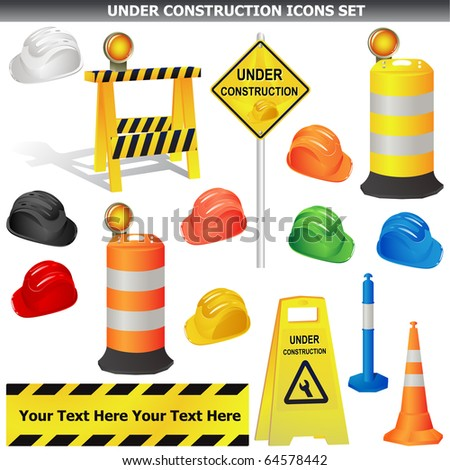Set of Under construction object isolated on whitevector - stock vector