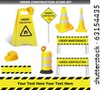 Set of Under construction signs vector - stock photo