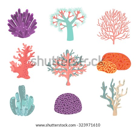 Set of underwater color coral icons. Reef nature marine, aquatic vector illustration - stock vector