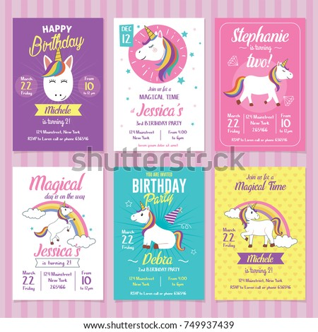 Set unicorn birthday invitation cards stock vector 749937439 set of unicorn birthday invitation cards stopboris Gallery