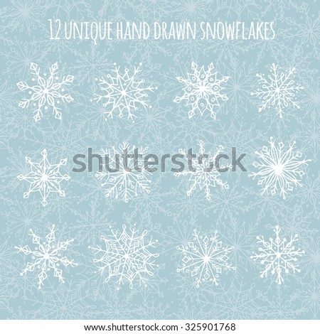 Set of 12 unique hand drawn snowflakes (+ seamless snowflakes background) - stock vector