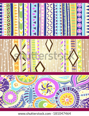 Set of unique seamless pattern and borders. Vector ethnic ornaments.