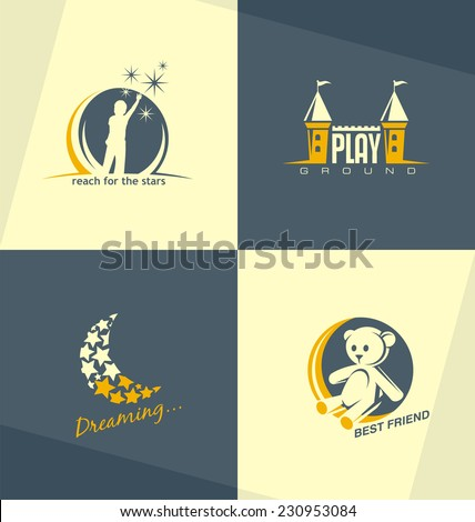 Set of unique vector symbols and logo design concept for preschool education or kids playground and kindergarten. Childhood related minimalistic illustrations collection.  - stock vector
