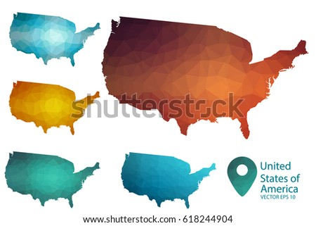 Set Vector United States America Maps Stock Vector - Us country map with states