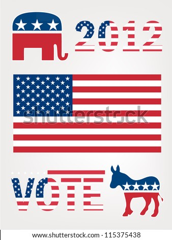 Set of United States Political Party Symbols - stock vector