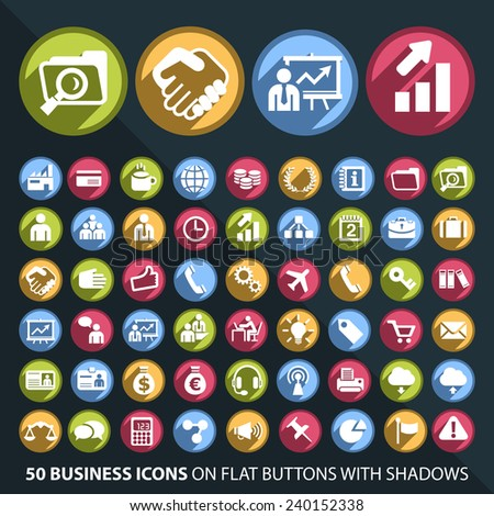 Set of 50 Universal and Standard White Business Icons on Flat Circular Colored Buttons with Shadows on Black Background ( isolated elements ) - stock vector