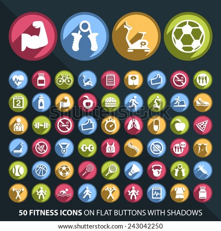 Set of 50 Universal and Standard White Fitness Icons on Flat Circular Colored Buttons with Shadows on Black Background ( isolated elements ) - stock vector